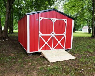 red utility shed