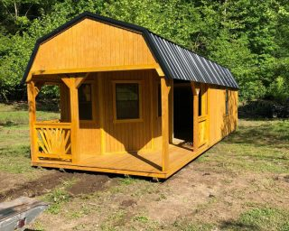 lofted cabin with porch