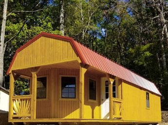 A prefab cabin with a porch in Virginia