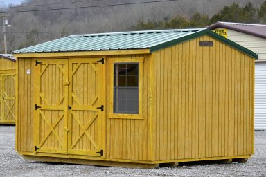 green garden storage shed